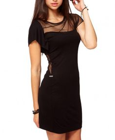 Pencil Dress with Mesh Insert Details