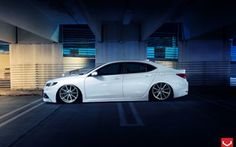 Wallpapers acura, tlx, vossen, wheels, tuning, car, white, nigth ...