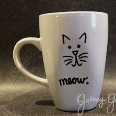 Meow coffee mugs Please know when you purchase, I go as fast as I can to craft and ship each mug out for the holidays! Get your mug for Christmas morning to celebrate the holidays! please note!!: all mug that look the way they do in pic will look as CLOSE AS POSSIBLE to the mug you receive in the mail! I do have to buy the mug then craft it!:) I put a lot of love and dedication into each and every one of them^.^ Other