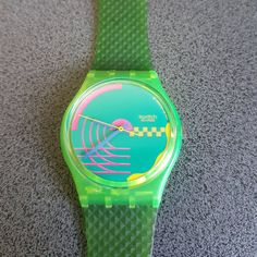 1990 Vintage Swatch Watch Honor Ride GJ104 . Beautifully green collored swatch watch!