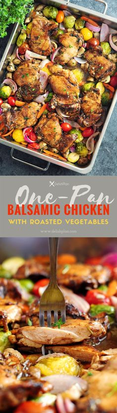 One-Pan Balsamic Chicken with Roasted Vegetables - StreetSmart Kitchen Balsamic Chicken, Balsamic Onions, Balsamic Glaze, Roasted Chicken, Clean Eating, Healthy Eating, Cooking Recipes, Healthy Recipes, Healthy Meals