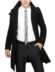 Amazon.com: Doublju Mens Long Half Coat: Clothing The tie's okay, but doesn't do the rest of the outfit justice.
