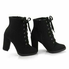 boots style shoes – stiefel stil schuhe sup i'm sandy i love fashion and outfits. Black Heel Boots, High Heel Boots, Black Heels, Ankle Boots, High Heels, Winter Heel Boots, Lace Up Heel Boots, Winter Heels, Boot Heels