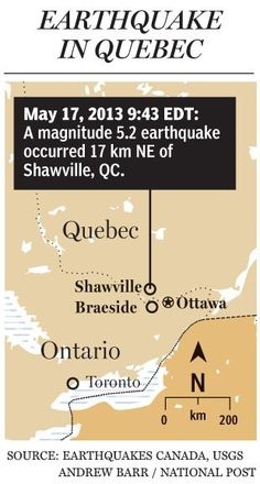 Ottawa felt an earthquake this morning. CBC says it was 20 kms northeast of Shawville, Quebec and felt as far away as Toronto. Approximately 5.0 magnitude with a a 4.1-magnitude aftershock ten minutes later. #ottawa #earthquakes