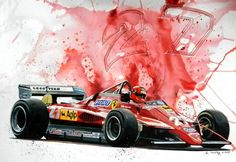 Motor Racing Aret - Watercolor with black ink. Ecoline liquid watercolors from Talens, great to work with. 70 x 50 cm © Marijan Pecar. Gilles Villeneuve, Liquid Watercolor, Ferrari F1, Car Drawings, Bike Art, Automotive Art, Sports Art, Car Photography, Formula One