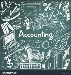 Accounting and financial education chalk handwriting doodle icon of banknote, money, balance sheet and cost and revenue sign and symbol in blackboard background used for business presentation title with header text, create by vector , Front Page Design, Front Cover Designs, Accounting Notes, Accounting And Finance, Wallpaper Doodle, Math Wallpaper, Project Cover Page, Science Icons, Note Doodles