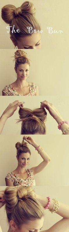 Bow bun, cute! I'd love to try it one day...if I ever let my hair get grow long enough to do so... :)