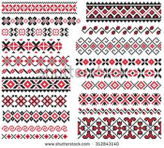 set of red and black ethnic patterns for embroidery stitch Cross Stitch Bird, Cross Stitch Borders, Cross Stitch Charts, Cross Stitch Designs, Cross Stitching, Cross Stitch Patterns, Wool Embroidery, Learn Embroidery, Cross Stitch Embroidery