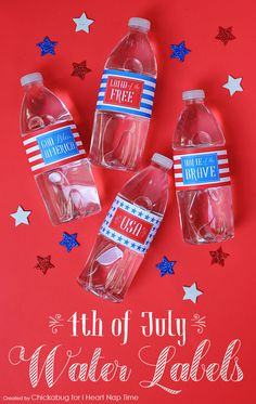Free printable 4th of July water bottle labels at iheartnaptime.com | 4th of July ideas