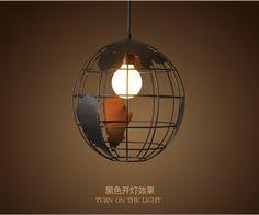 LOFT chanvre corde vintage boule de fer cage pendentif lumi¨res