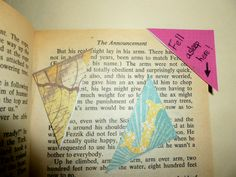 Corner Bookmarks using the corners of used Envelopes and Scrapbook Paper