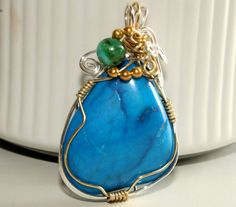 Howlite Pendant with Azurite Chrysocolla and by DeMorJewels, $45.00