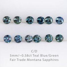 … Fair Trade Blue / Teal Montana Sapphire Half Bezel Diamond Star Dust Engagement Ring …