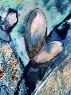 Encaustic art. Blue mood by Frances Welling.