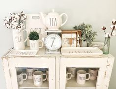 Rae Dunn Farmhouse Cabinet Decor IG : @thecottagelanehome