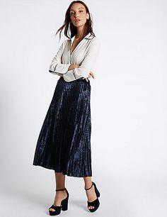 Velvet Pleated A-Line Midi Skirt