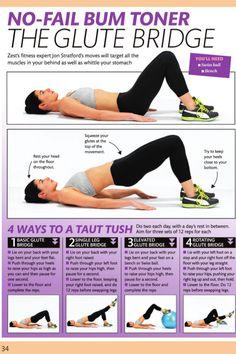 No Fail Bum Toner. The Glute Bridge workout exercise exercise ideas exercise tutorials workout tutorials fitness tips Fitness Workouts, Fitness Motivation, Sport Fitness, Body Fitness, Fitness Diet, Health Fitness, Butt Workouts, Daily Motivation, Skinny Motivation