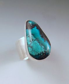 Turquoise Amazing Color Hammered Sterling Silver by RedPaw on Etsy