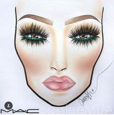 Face chart. Makeup. Green eye liner