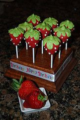 Clever! I like the look of the chocolate covered strawberries decorated as strawberries!