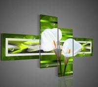 4190 pintado à mão 4 peças óleo moderna pintura em tela de arte para decoração de casa como único presente verde calla lírio branco