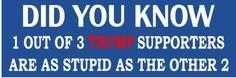1 out of 3 TRUMP supporters are  - ANTI Trump POLITICAL BUMPER FUNNY STICKER