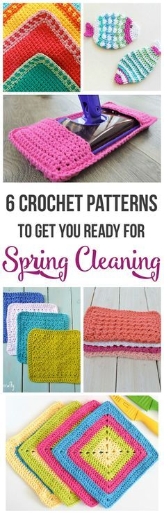 6 Free Crochet Patterns to get you ready for spring cleaning! Pattern round-up by Just Be Crafty!