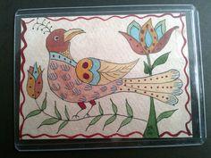 Fraktur bird and tulips PA German folk art primitive art ACEO small format art watercoour watercolor original art
