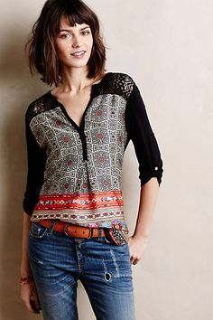 """Laced Melange Top - anthropologie.com•By Weston •Silky polyester front with cotton-nylon lace detail; rayon-lycra jersey sleeves and back •Pullover styling •Hand wash •USA •Regular: 30.5""""L"""