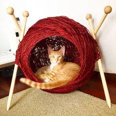 """109 curtidas, 4 comentários - Patrícia Melo (@blogremobilia) no Instagram: """"Agora uma ideia de caminha perfeita pra quem ama gatos, tricô e linha!! Via Carolina Ferreira…"""""""