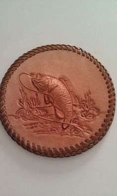 Tooled Leather Wall Decor Fish
