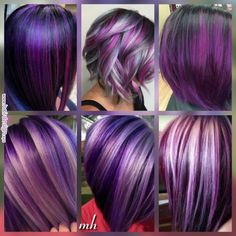 Haare Purple plum hair color options Know All About Central Air Conditioning There are a number of r Purple Hair Highlights, Hair Color Purple, Cool Hair Color, Plum Colour, Dark Purple, Light Purple, Short Purple Hair, Purple Nails, Plum Hair Colors