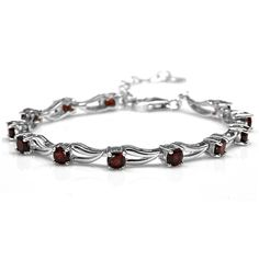 3.96ct. Natural Garnet White Gold Plated 925 Sterling Silver 6.5-8 Inch Adjustable Modern Bracelet * Click image to review more details. (This is an Amazon Affiliate link and I receive a commission for the sales)