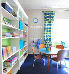 Two Plus Four - formerly KdBuggie Boutique: Playroom Organization Inspiration Playroom Organization, Playroom Ideas, Toy Rooms, Kids Rooms, Playroom Design, Decorative Storage, Kid Spaces, How To Clean Carpet, Getting Organized