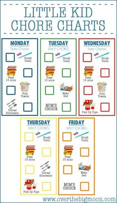 Little Kid Printable Chore Charts perfect for kids ages 2-5!  Available completed or blank to customize!  From www.overthebigmoon.com!