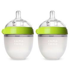 Kit com 2 Mamadeiras Comotomo com Bico de Fluxo Natural 150ml (3+) Anti Cólica, Anti Vazamento e Sem BPA - Verde