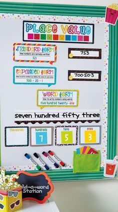 This colorful and popping Place Value bulletin board set is sure to engage your students! Part of the School Pop classroom collection from Carson-Dellosa.