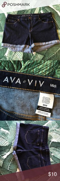 Ava & Viv Midi Jean Shorts These denim shorts are a lovely dark blue shade. Plenty of stretch. Super comfy but hug in the right places. Ava & Viv Shorts Jean Shorts