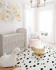 "Caitlin Wilson on Instagram: ""Spotted! Our Black Spotted Rug in @palmbeachlately's glam nursery on @glitterguide. Check out their full tour! #cwrugs #shareyourcwt #nurserygoals"""