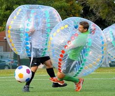 Bring the brutality of football to the graceful game of soccer by playing a game of inflatable bumper soccer. In this hybrid sport, players are encased by an enormous inflatable ball that lets you bump, tackle, and push down opponents without ever injuring them.