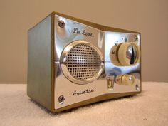 """60's Japanese chrome and gold Juliette """"de luxe"""" radio."""