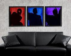 Superhero Set of 3 - photo prints - Type Poster Wall Art Textured Beige Black Vintage Style