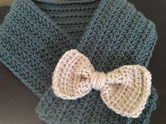 Cowl with bow detail, crochet on Etsy, $15.00