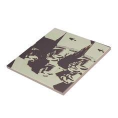 Monochromatic antique cameras and photos ceramic tile