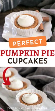 Pumpkin Pie Cupcakes - Mini pumpkin custards that taste like sweet, dense, cinnamon-spiced pumpkin pie. Fun individual desserts for the holidays! Individual crustless pumpkin pies are perfect for portion control on Thanksgiving. Pumpkin Pie Cupcakes, Mini Pumpkin Pies, Pumpkin Custard, No Bake Pumpkin Pie, Spiced Pumpkin, Pumpkin Dessert, Pumpkin Spice, Sweet Sweet, Sweet Stuff