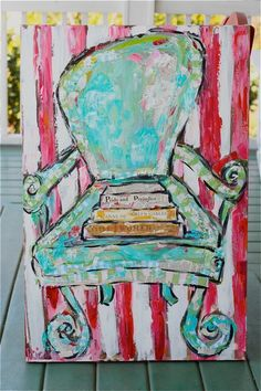 I love this mixed media chair painting! http://littleredhead.typepad.com/