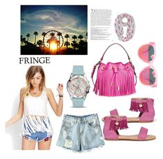 """""""FRINGE"""" by emily-677 ❤ liked on Polyvore featuring Été Swim, Chicnova Fashion, Stuart Weitzman, Forever 21, Milly, FOSSIL and Balmain"""