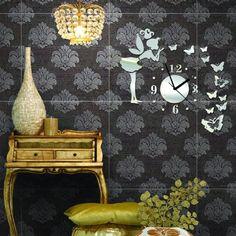 Home - wall clock wall sticker-Preciserclock. Mirror Wall Stickers, Wall Stickers Home, Wall Clock Wooden, Wall Clocks, Living Room Mirrors, 3d Home, Diy Mirror, Vinyl Art