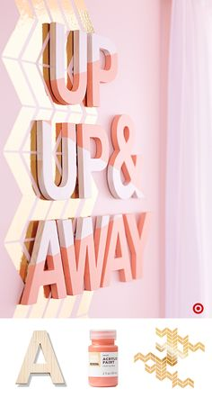 It's easy to create an accent wall for Baby's nursery. Pick up gold chevron wall decals, Hand Made Modern Wooden Letters, Acrylic Paint and Paint Brush Set, and you're ready to go. Locate the best spot for your design and plan how much room you'll need. Next, paint the letters in tones that will complement your decor (love the two-tone look). Finally, simply stick on the decals and hang the letters in place. In no time at all, you'll have a wall with a custom look designed by you.