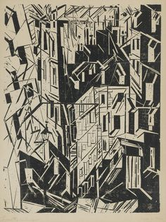 Lyonel Charles Feininger (1871-1956) Strasse In Paris 1918 (54,7 x 41,2 cm)